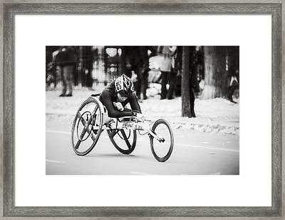 2013 Nyc Marathon Wheelchair Division Framed Print by Eduard Moldoveanu