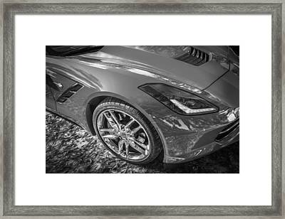 2014 Chevrolet Corvette C7 Convertible Bw Framed Print