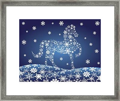 2014 Chinese Horse With Snowflakes Night Winter Scene Framed Print