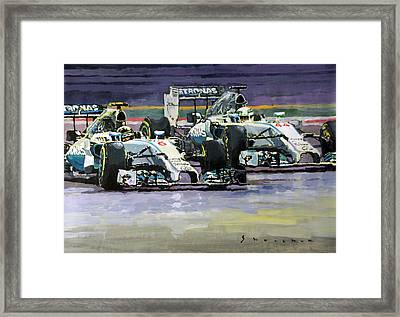 2014 F1 Mercedes Amg Petronas  Lewis Hamilton Vs Nico Rosberg Framed Print by Yuriy Shevchuk