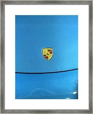 2014 Porsche Cayman S  Logo Blue Framed Print