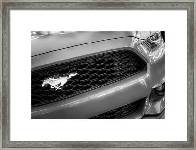 2015 Ford Mustang Prototype Grille Emblem -0092bw Framed Print by Jill Reger