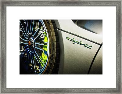 Framed Print featuring the photograph 2015 Porsche 918 Spyder E-hybrid Wheel Emblem -0238c by Jill Reger