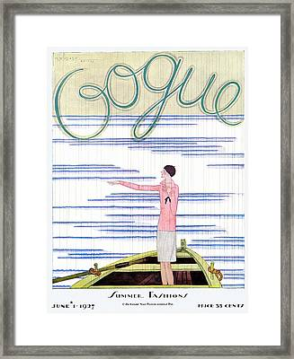 A Vintage Vogue Magazine Cover Of A Woman Framed Print by Georges Lepape