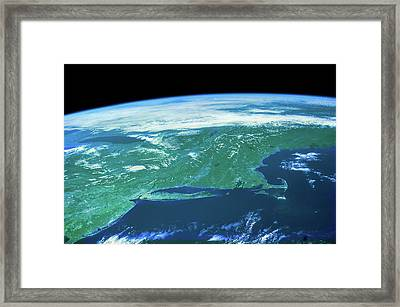 View Of Planet Earth From Space Showing Framed Print