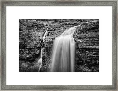 Waterfalls George W Childs National Park Painted Bw   Framed Print