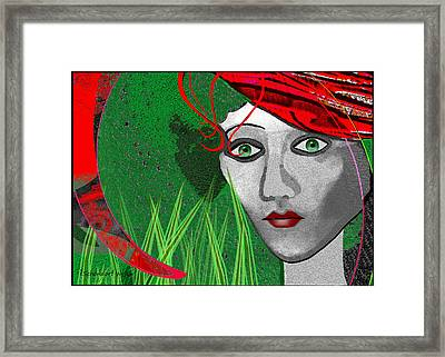 210 - Lady  Red Hat Framed Print by Irmgard Schoendorf Welch