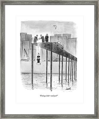 Fixing A Leak - And You? Framed Print by Tom Cheney