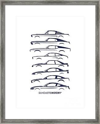 Ford Mustang Silhouettehistory Framed Print by Gabor Vida