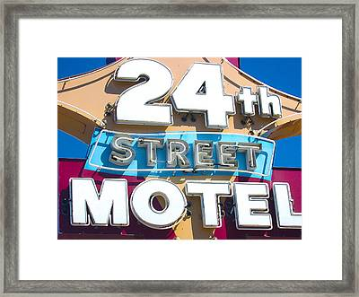 24th Street Motel Sign Framed Print by John Castell
