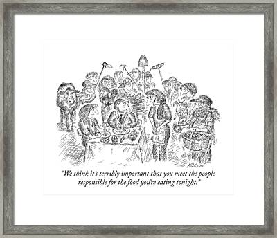 We Think It's Terribly Important That You Meet Framed Print by Edward Koren