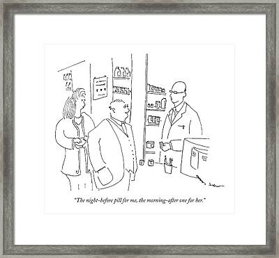 The Night-before Pill Framed Print