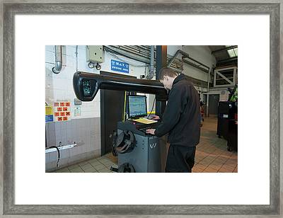 Car Servicing Framed Print by Lewis Houghton/science Photo Library