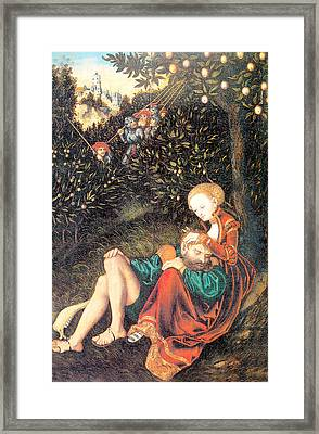 Samson And Delilah Framed Print by Lucas Cranach