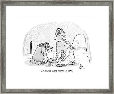 I'm Getting Woolly-mammoth Notes Framed Print by Leo Cullum