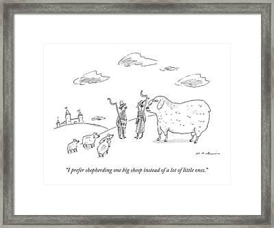 I Prefer Shepherding One Big Sheep Instead Framed Print by Michael Maslin