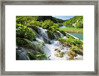 The Plitvice Lakes In The National Park Framed Print by Martin Zwick