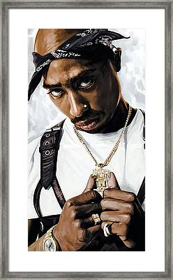 2pac Tupac Shakur Artwork  Framed Print by Sheraz A