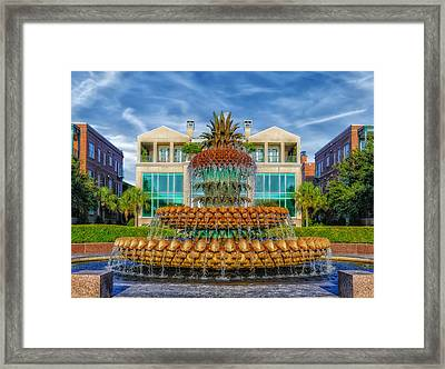Pineapple Fountain - Morning At Waterfront Park Framed Print by Frank J Benz