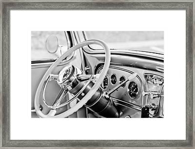 1933 Pontiac Steering Wheel -0463bw Framed Print by Jill Reger