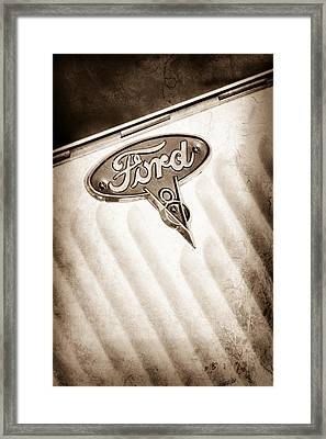 1934 Ford V8 Emblem Framed Print by Jill Reger