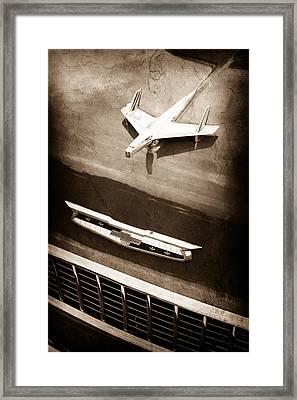 1955 Chevrolet 210 Resto Mod Hood Ornament - Emblem Framed Print
