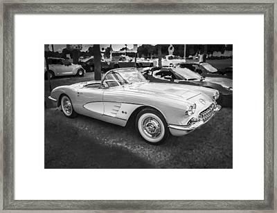 1958 Chevy Corvette Bw Framed Print