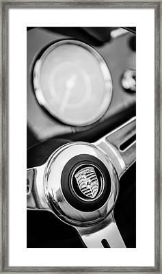 1960 Porsche 356b 1600 Roadster Steering Wheel Emblem Framed Print by Jill Reger