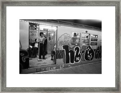 1970s America. Graffiti On A Subway Car Framed Print by Everett