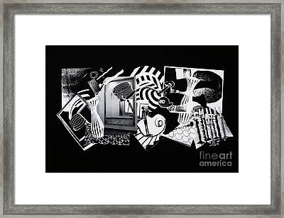 Framed Print featuring the mixed media 2d Elements In Black And White by Xueling Zou