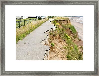 A Collapsed Coastal Road At Barmston Framed Print