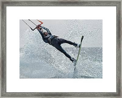 A Man Kitesurfing  Tarifa, Cadiz Framed Print by Ben Welsh