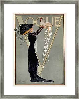 Vintage Vogue Cover Of Woman With Rooster Framed Print by Artist Unknown