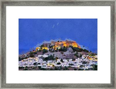 Acropolis And Village Of Lindos Framed Print