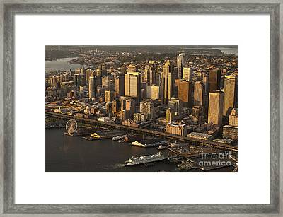 Aerial View Of Seattle Skyline Along Waterfront Framed Print