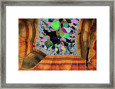 Agate. Polarised Light Micrograph Framed Print by Antonio Romero