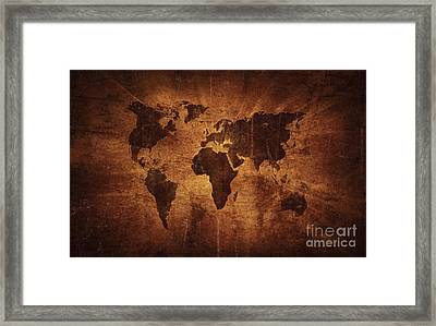 Aged World Map On Dirty Paper Framed Print