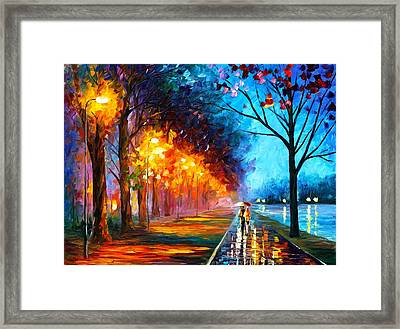 Alley By The Lake Framed Print by Leonid Afremov