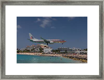 American Airlines At St. Maarten  Framed Print by David Gleeson