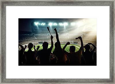American Football Fans At Stadium Framed Print by Dmytro Aksonov