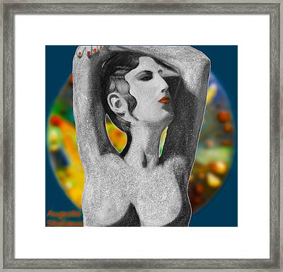 Aphrodite And  Cyprus Map Framed Print by Augusta Stylianou