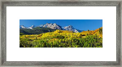 Aspen Trees With Mountains Framed Print by Panoramic Images