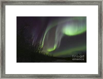Aurora Borealis By Fish Lake Framed Print by Joseph Bradley