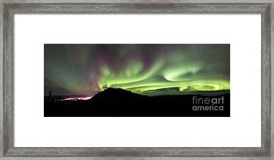 Aurora Borealis Over Gray Peak Framed Print by Joseph Bradley