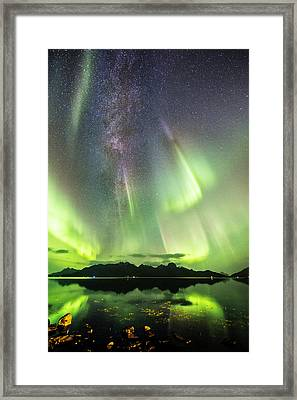 Auroras And Milky Way Framed Print