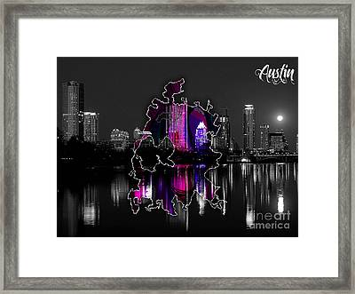 Atlanta Map And Skyline Watercolor Framed Print