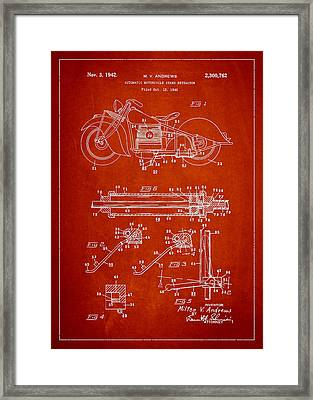 Automatic Motorcycle Stand Retractor Patent Drawing From 1940 Framed Print by Aged Pixel