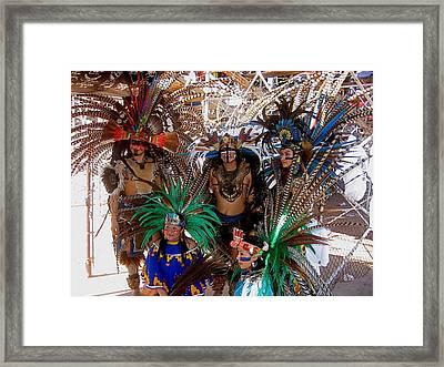 Aztec Performers Arena O'odham Tash Casa Grande Arizona 2006  Framed Print by David Lee Guss
