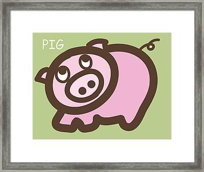 Baby Pig Art For The Nursery Framed Print by Nursery Art