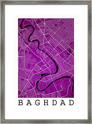 Baghdad Street Map - Baghdad Iraq Road Map Art On Color Framed Print
